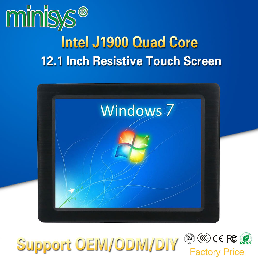 Minisys 12.1 Inch All-in-one Computer Intel J1900 CPU Embedded SIM Slot Resistive LCD Screen Touch Panel PC With Aerial Plug