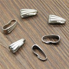 50%OFF(50 pcs or more) 9x4mm 6x3mm Stainless Steel Clasps Pinch Clips Bails Charm Melon Seeds Buckle Pendant Connectors(China)