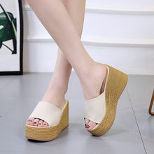 Platform Wedge Slippers Open Toe Womens Mules with Heels 9CM Beach Slippers Women Summer Casual Leather Flip Flops Woman Socofy(China)