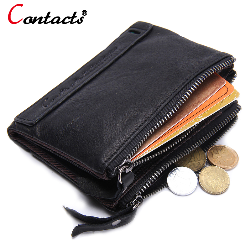 CONTACT'S Genuine Leather Men Wallet Coin Purse Card Holder Zipper Small Clutch male Bags travel Walet Money Bag Organizer purse joyir vintage men genuine leather wallet short small wallet male slim purse mini wallet coin purse money credit card holder 523