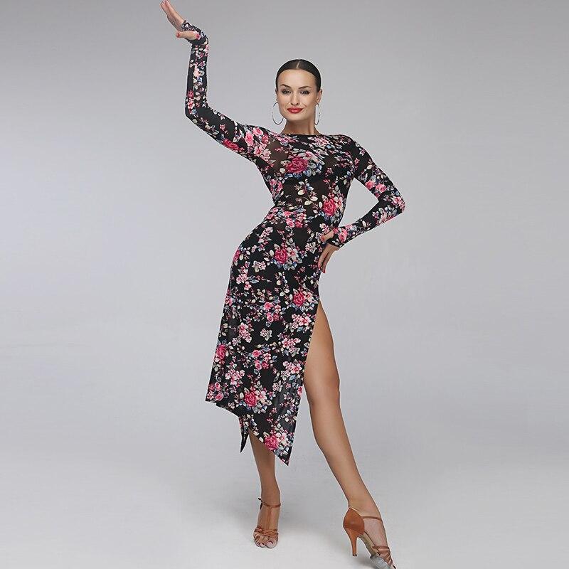 latin dance dress women tango dress female print Splicing salsa rumba costumes leopard latin dress sexy samba dance dress fringe