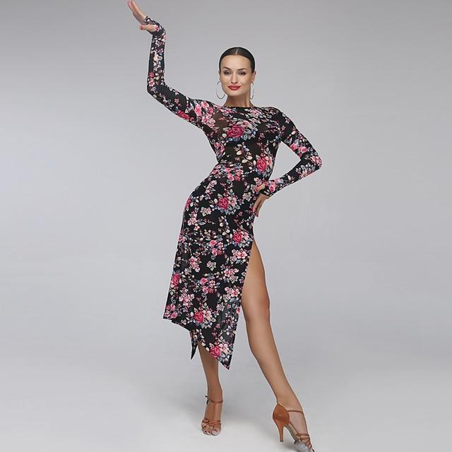 5855a6ec9522 latin dance dress women tango dress female print Splicing salsa rumba  costumes leopard latin dress sexy samba dance dress fringe