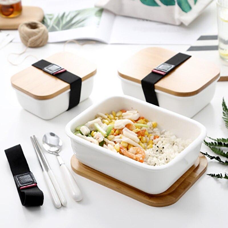 Ceramic Bento Box: MICCK Microwavable Lunch Box Japanese Style Bamboo Ceramic