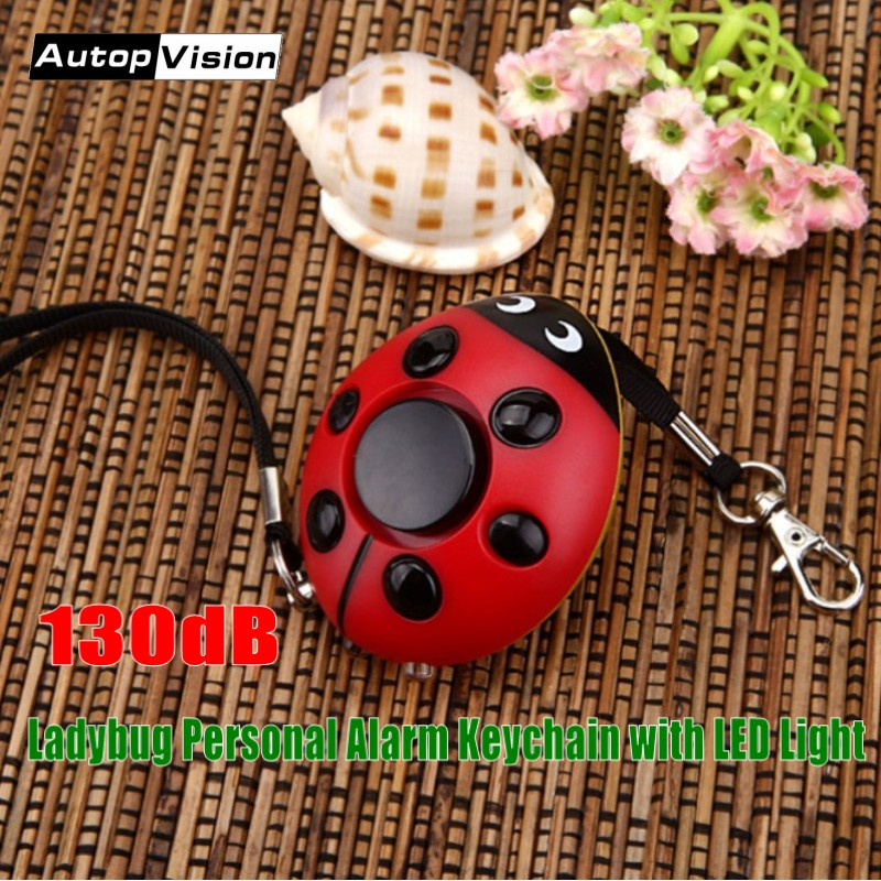 Wholesale top-sell Ladybug Keychain Alarm with LED Light 130dB self defense Personal safety alarm keychain for Women Kids Girls 130db personal alarm key chain with mobile speaker personal alarm with led flashlight support oem logo