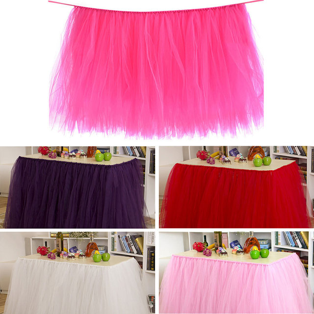 Online shop tulle solid color table skirt diy handmade table cloth tulle solid color table skirt diy handmade table cloth tableware baby shower birthday party wedding decoration 915cm80cm junglespirit Images