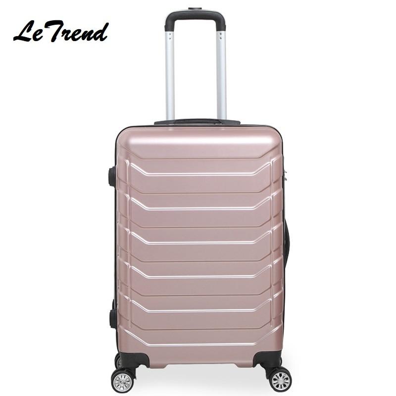 Letrend di Colore di Modo ABS Trolley Spinner Donne Trolley Valigia Ruote 20/24 pollici Carry Sulla Borsa Da Viaggio Hardside Tronco