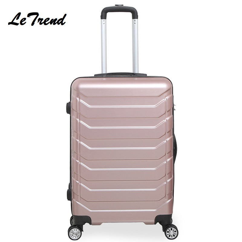 Letrend mode couleur ABS roulement bagages Spinner femmes valise Trolley roues 20/24 pouces continuer sac de voyage Hardside tronc