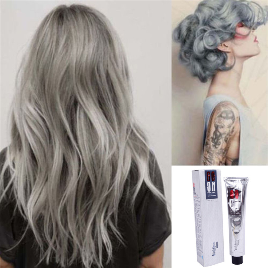 2017 # Hair Style Fashion Permanent Punk Hair Dye Light Gray Silver Color Cream 100ML image