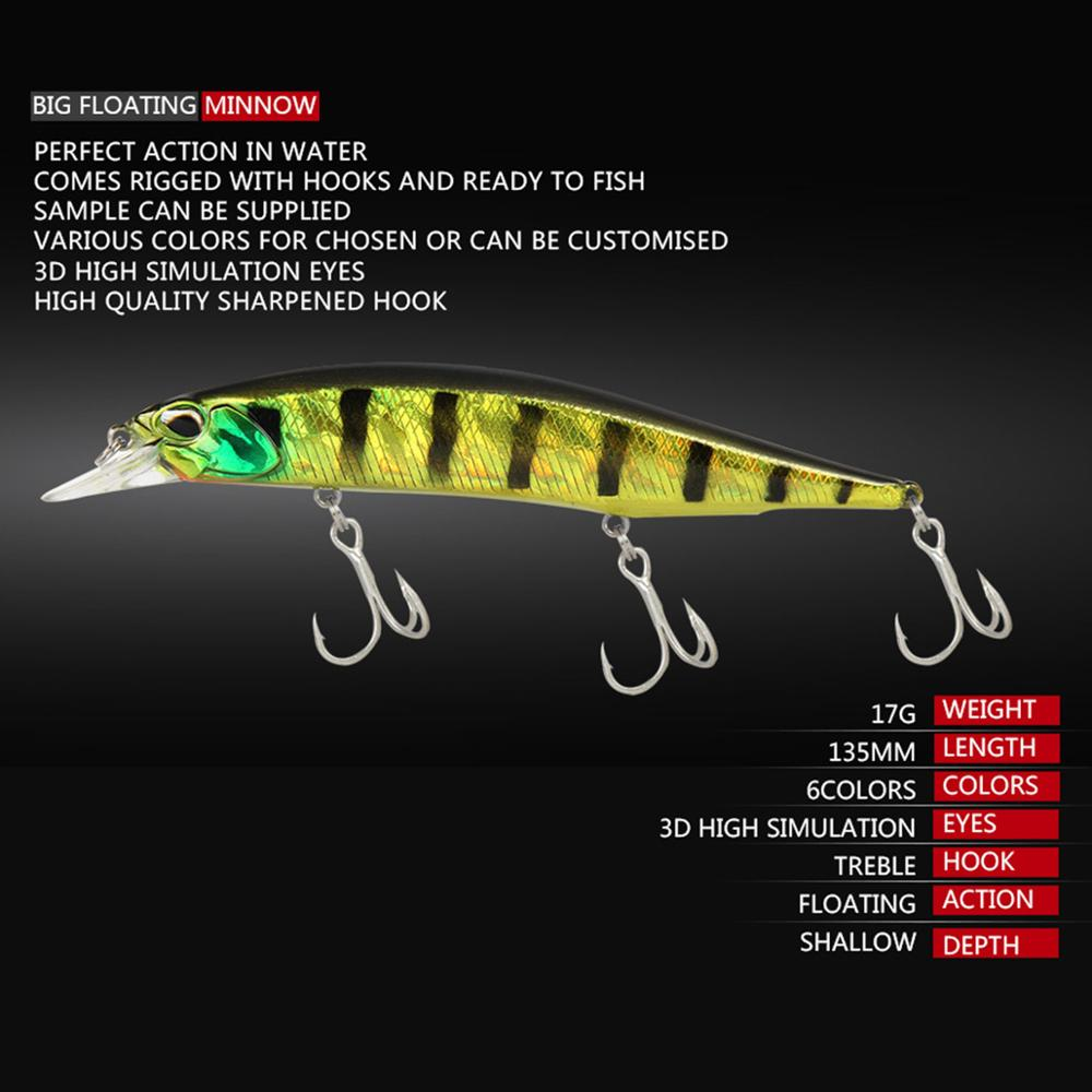 13.5cm 17g 8 Colors Floating Bionic Minnow Lure Artificial Bait Hard Bait Weever Special Fishing Lure Wobbler|Fishing Lures| - AliExpress