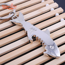 1 PC Shark Shaped Bottle Opener Keychain Zinc Alloy Silver Color Key Ring Beer Unique Creative Gift(China)