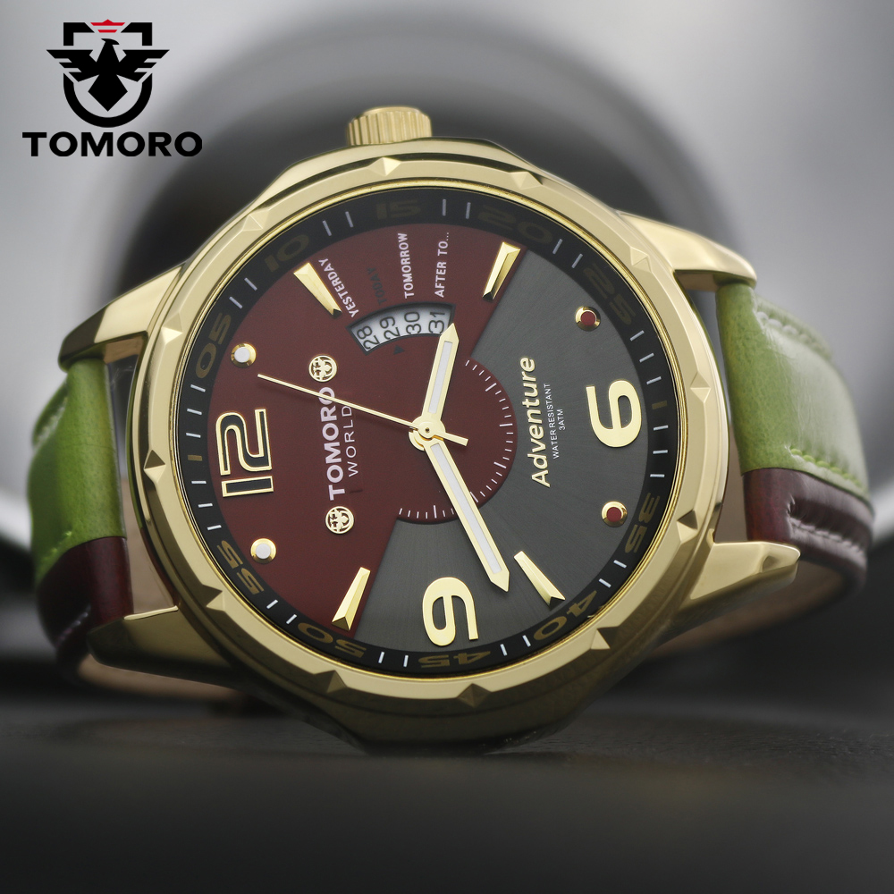 TOMORO TMR0214 Brand New Relogio Calendar Dual Colors Leather Man Quartz Casual Stylish Dress Gift Ladies Male Hours Wrist Watch  tomoro new casual watch women fashion dress watches colors genuine leather quartz wristwatch for men relogio masculino love 0214