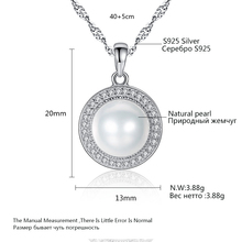 PAG&MAG Classic Round 925 Sterling Silver Pendant Necklace with 9-9.5mm Pearls Natural Freshwater Pearl Fine Jewelry Hot001
