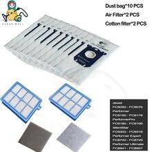 Set de 14 pièces de rechange s filtre s sac pour aspirateur Philips, performeur de bijoux et Expert PerformerPro SilentStar fc8941 fc8957