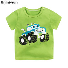 [Unini-윤] Fashion 면 우주선 Boys Girls T-Shirts 어린이 Kids Cartoon Print T shirts Baby 아이 탑 옷 티 6 M-7 T(China)