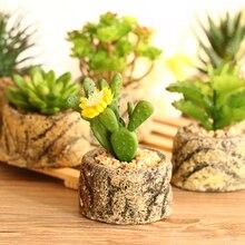Small potted bonsai Mini Artificial succulent plants set fake Flower vase imitation stone flower home decoration 2017