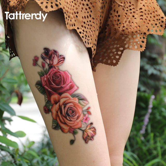 1pc 3d Rose Flowers Arm Shoulder Tattoo 2 Size Waterproof Temporary