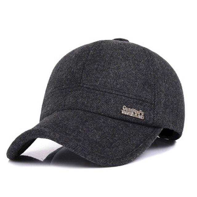 Men Winter Warm Wool Tweed Earflap Adjustable Baseball Cap Peaked Earmuffs Hat  Metal Buckle Outdoor Sports Driving Perfect Gift f65e46c61ab