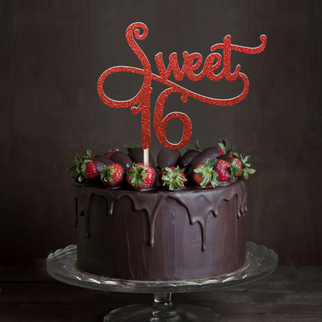 Phenomenal Gold Silver Black Glitter Sweet 16 Cake Topper Girls Sixteenth Personalised Birthday Cards Veneteletsinfo