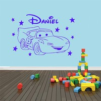 Any Name Custom Personalized Wall Sticker Cute Car Vinyl Wall Decals Boys Kids Bedroom Art Decorative