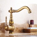 Retro Style Swivel Spout Bathroom Sink Mixer Taps Single Handle Antique Brass Basin Sink Faucet One Hole