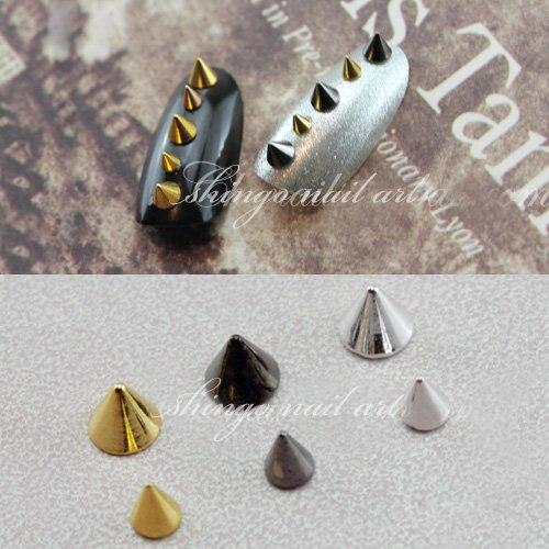 100pcs Fashion nail accessory Metal Punk Metallic Cone Spikes