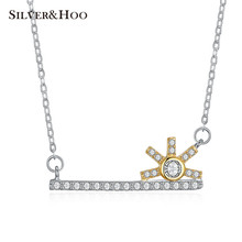 SILVERHOO 2017 Key Sunflower Design Pendant Necklace Austria Crystal Charm Lady Creative Party Gift  925 Sterling Silver Jewelry