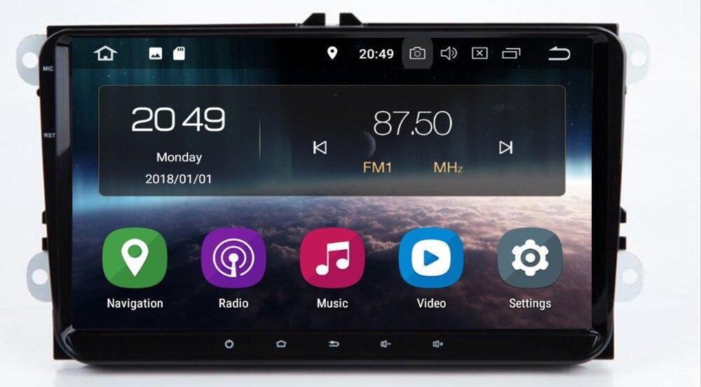 2 Din 9 pouces QuadCore Android 9.0 voiture dvd GPS pour V W Polo J etta Tiguan passat b6 cc fabia miroir lien 4G wifi Radio BT dans le tableau de bord