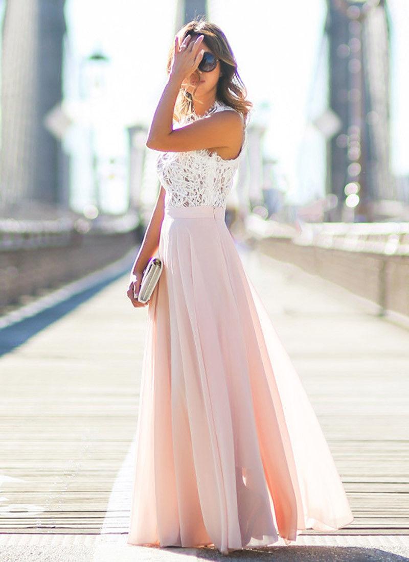 3b73781b22 Aliexpress.com : Buy Women Sexy Summer Lace Maxi Long Dress Night Party  Dress Sundress Chiffon Pink Beach Dress from Reliable beach dress suppliers  on ...