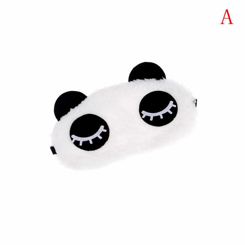Bonito rosto panda branco dos desenhos animados máscara de olho sombreamento mulheres men macio portátil venda de viagem máscara de sono cobrir cuidados de saúde