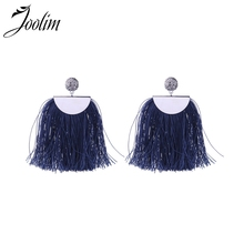 Joolim High Quality Navy Blue & Pink Tassel Drop Earring Fringe Fashion Jewelry