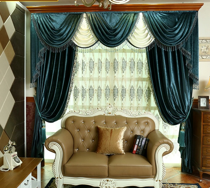 On Sales High Quality Luxury Fashion Thickening Velvet Curtain Solid Colors  Fancy Tulles Valance Curtains Cortain