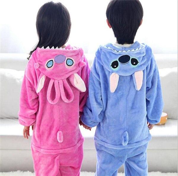 1dea7832b85c Stitch Baby Boys Girls Pajamas Autumn Winter Children Flannel Animal funny  animal Cartoon Pajamas Kid Onesie Sleepwear
