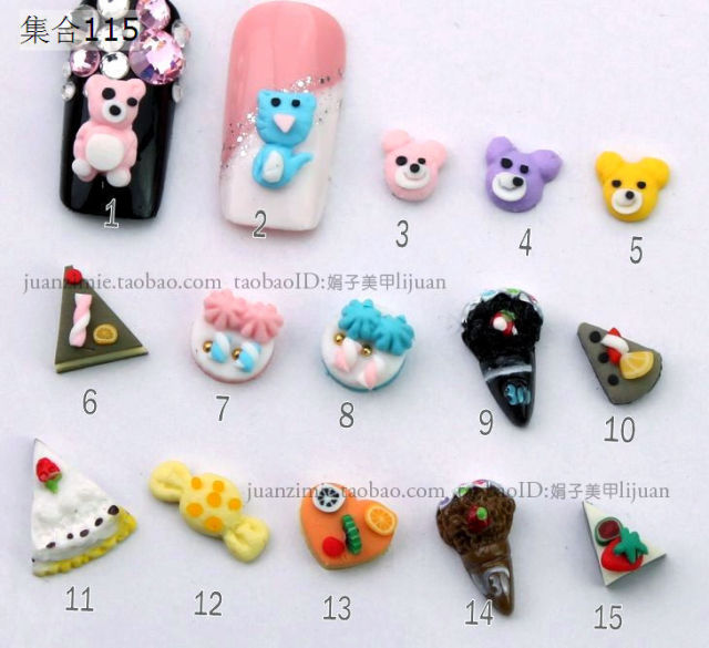 5 nail art accessories diy material finger stickers resin cartoon sz115 -