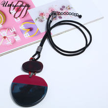 Boho Big Acrylic Round Pendant Leather Chain Necklace Women Choker Jewelry Colar Collares Harajuku Bijoux Femme Collier Kolye(China)