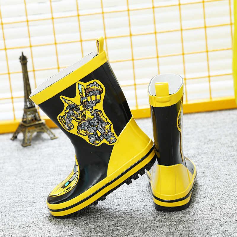 Öğrenci karikatür kaygan sneakers erkek lastik çizmeler sarı elmas botları Çizmeler