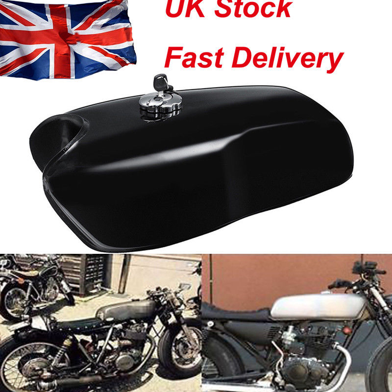 Triclicks Motorcycle 9L 2 4 Gallon Black Silver Motorcycle Gas Fuel Tank Oil Box Raw Bare Cafe Racer For Honda Suzuki Yamaha BMW in Fuel Tanks from Automobiles Motorcycles