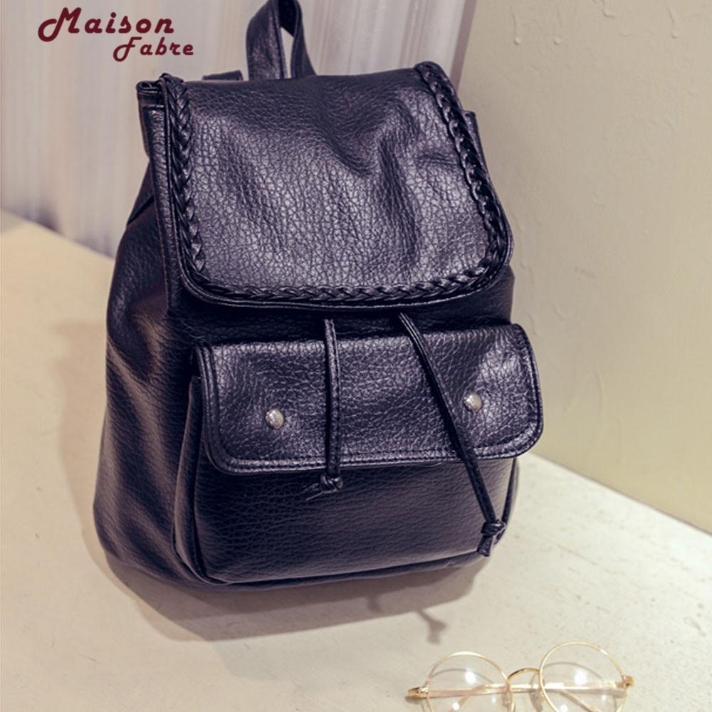 New Fashion 2017 Women Leather Backpacks Black Large School Bags Teenagers Girls Shoulder Travel Bag Mochila Feminina 1012#23