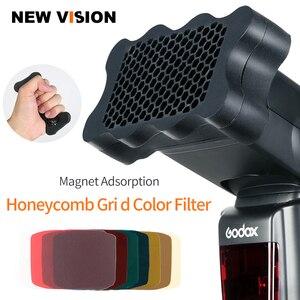 Image 1 - Speedlite Flash Rubber Honeycomb Grid + 7pcs Color Gels Filters for Canon Nikon Sony Godox Yongnuo Camera Flash Speedlite Light