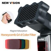 Speedlite – Flash en caoutchouc nid dabeille + 7 pièces de couleur, pour Canon, Nikon, Sony, Godox, Yongnuo, pour appareil photo, Speedlite