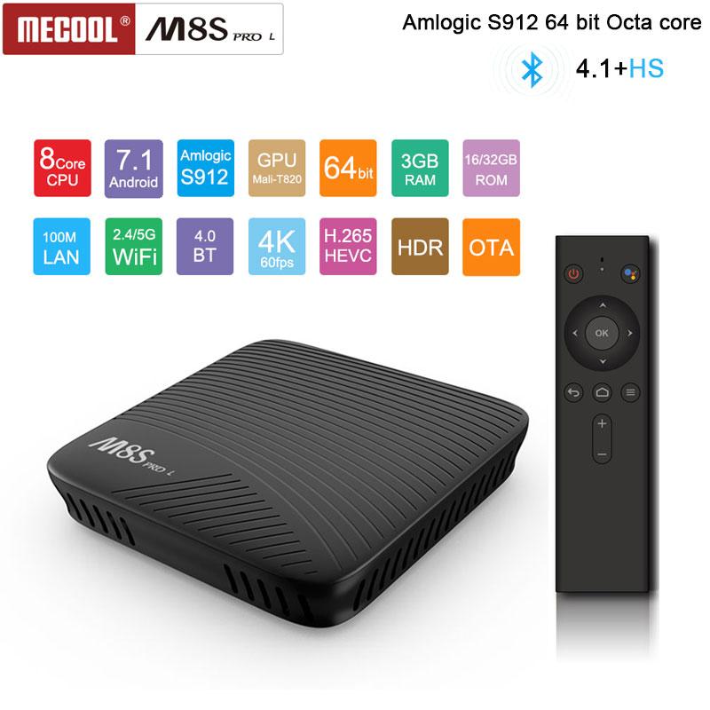 M8S PRO L ATV boîtier de smart tv Android 7.1 Amlogic S912 3 GB RAM 16 GB/32 GB ROM 5G wifi BT4.1 Set top Box avec La Voix télécommande