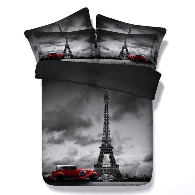3d Print Eiffel Tower Bedding Set Paris Scenic Bed Linens 3 4 Pc