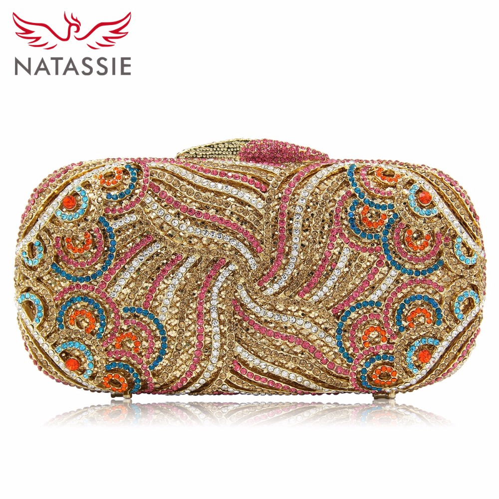 NATASSIE Women Purse Evening Clutch Bags Ladies Gold Crystal Clutches Female Party Bag natassie women crystal clutches bags ladies evening bag female red purple party clutch wedding purse