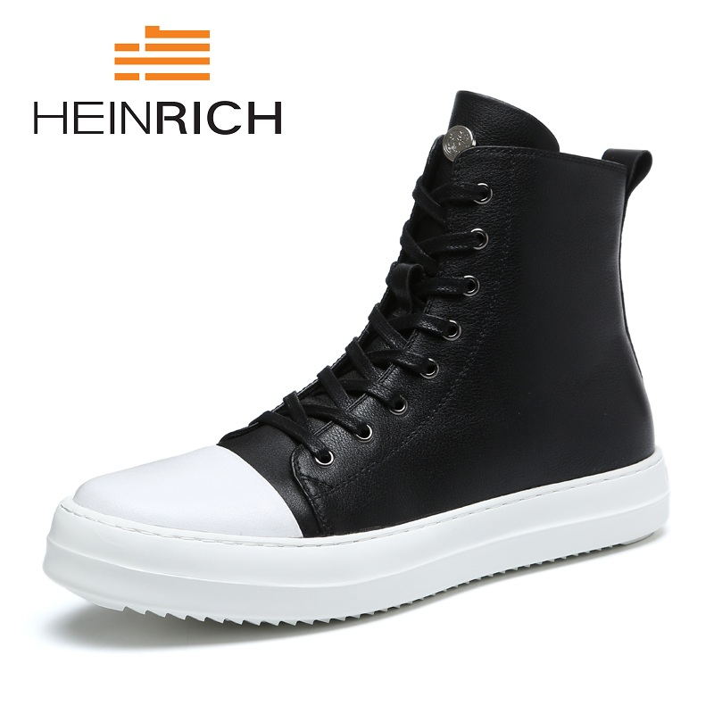 HEINRICH Spring/Autumn Men Boots High Top Leather Shoes Lace-Up Casuals Round Toe Top Quality Ankle Boots Men Shoes Sapato цена 2017