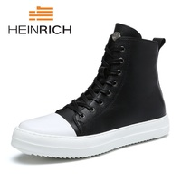HEINRICH Spring/Autumn Men Boots High Top Leather Shoes Lace Up Casuals Round Toe Top Quality Ankle Boots Men Shoes Sapato