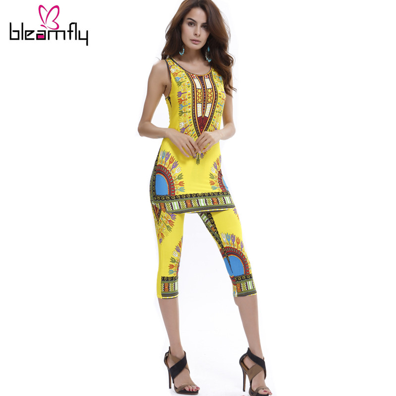 Dashiki dress 2016 Summer Women sexy Bohemian Robe Femme Africa Print Indian Style Two piece set roupas feminina