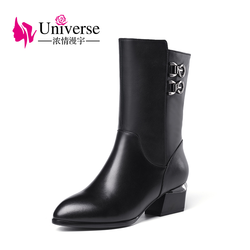 Universe cow leather mid calf women boots with buckle decoration black warm winter ladies boots G379 double buckle cross straps mid calf boots