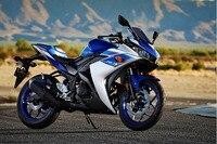 Планирует настроить для Yamaha YZF r25 R3 yzfr3 2015 впрыска ABS Пластик мотоциклов обтекателя Kit Кузов yzfr25 15 синий белый