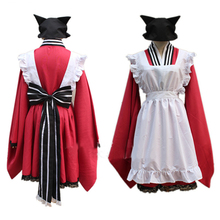 Free Shipping Maid Cosplay costumes red and white cat maid outfit maid clothing set