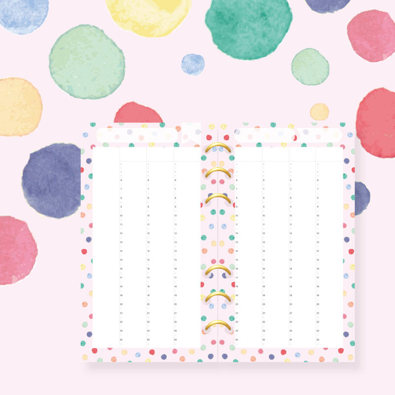 Planner Dokibook Filler A5 A6 A7 Rainbow Wave Point Weekly Inside