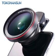 TOKOHANSUN HD 광학 유리 0.6x 와이드 앵글 렌즈 15x 슈퍼 매크로 렌즈 아이폰 6s 7 8 플러스 삼성 S9 S8 카메라 렌즈 키트